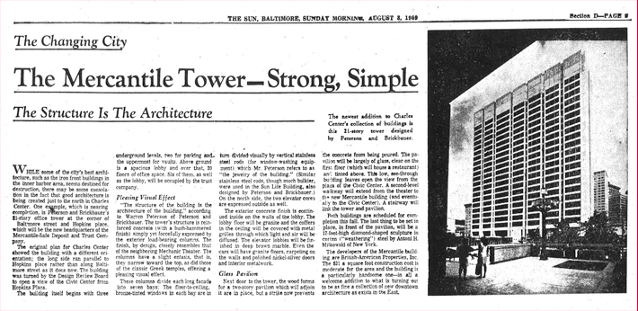 Newspaper article on history of 2 Hopkins Plaza