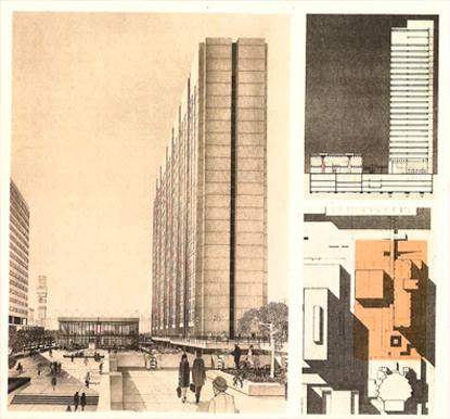 Architect's rendering of 2 Hopkins Plaza with building and site diagrams