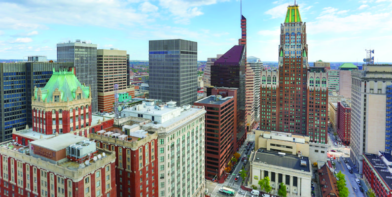 photo of downtown Baltimore with oversaturated colors as seen from the roof of the 2Hopkins apartments building