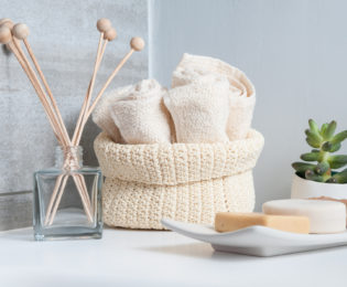 Close-up of wash-stand accessories