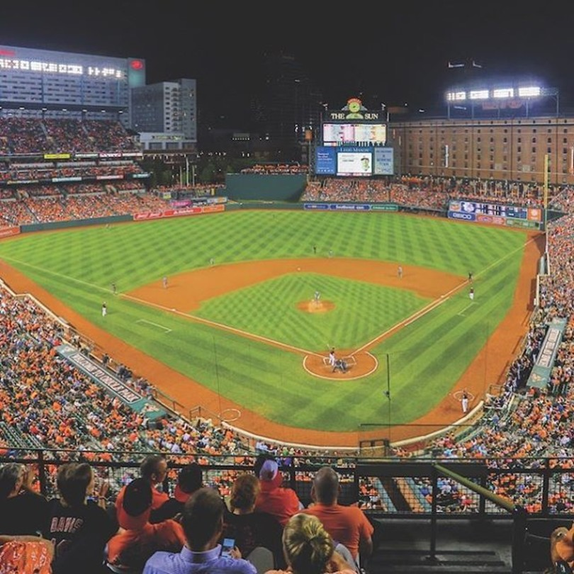 photo of Camden Yards during Orioles night game view from behind home plate