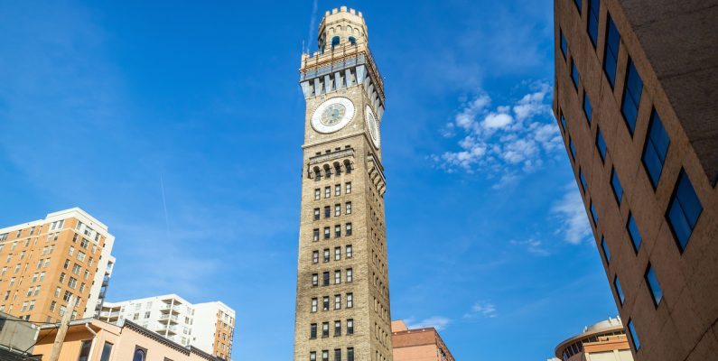 photo of Bromo Seltzer clock tower in downtown Baltimore on a sunny day
